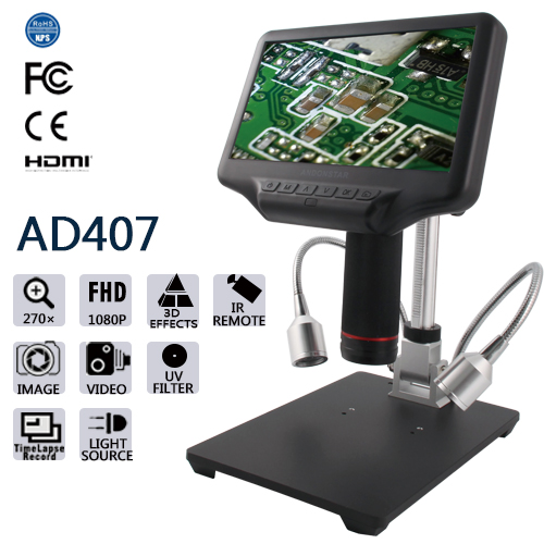 "Andonstar AD407 HDMI Digital Microscope with 7"" LCD Screen"