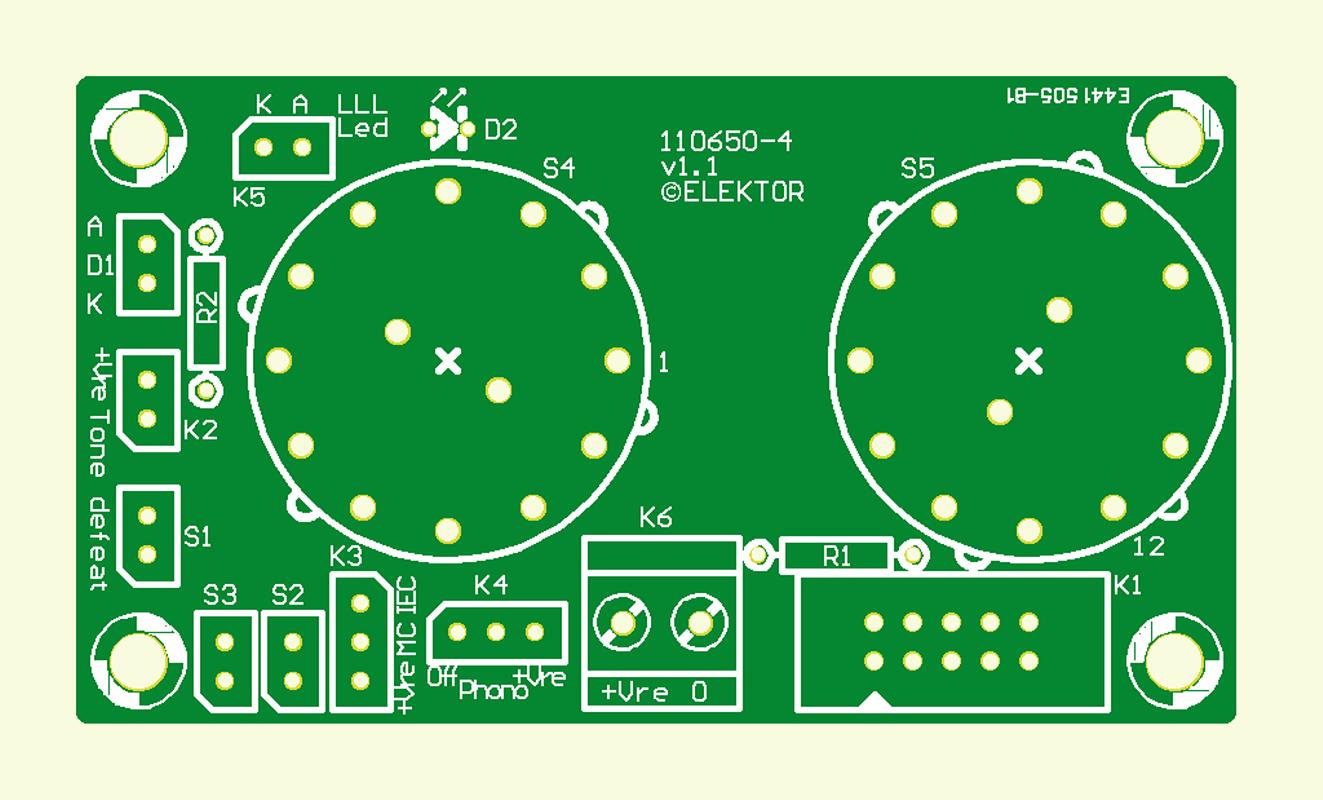 Preamplifier 2012 Front panel board (110650-4v110)