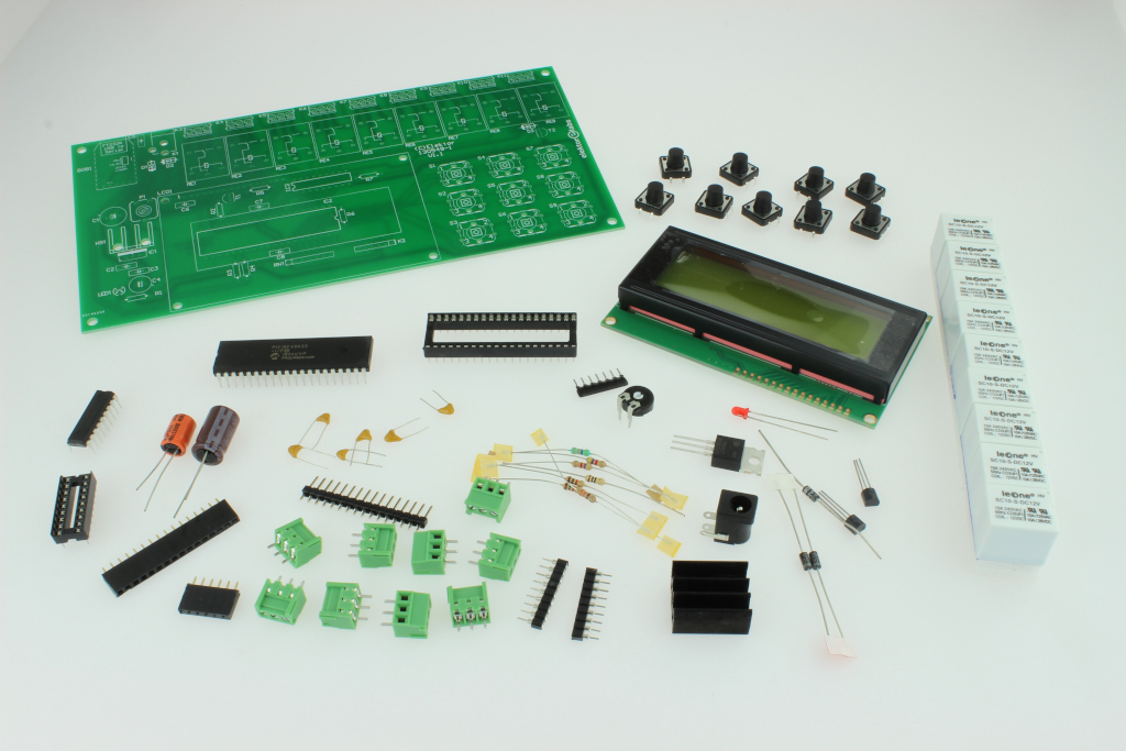 9-channel Relay Board with PC Interface - kit of parts