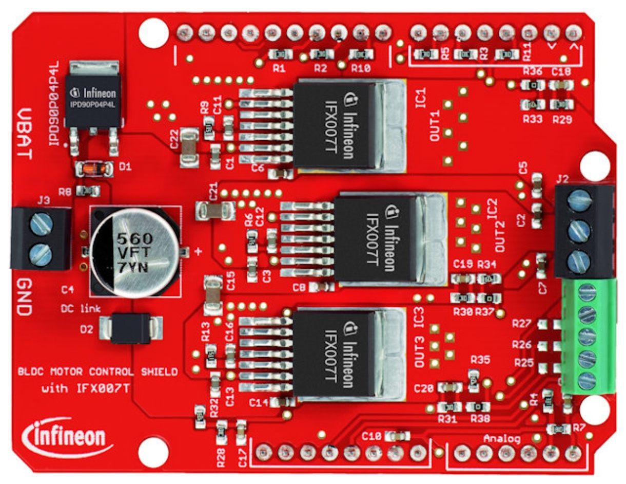 Infineon BLDC Motor Control Shield for Arduino with three IFX007T