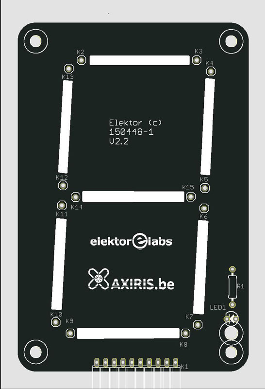 Bare PCB for large 7-segment Display - Leditron (150448-1)
