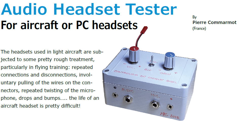 Project No. 51: Audio Headset Tester For aircraft or PC headsets (PDF)