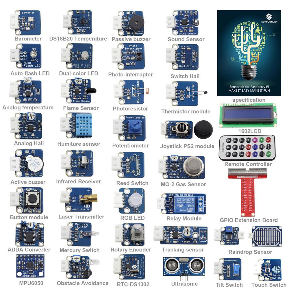 SunFounder Basic Sensor Kit for Raspberry Pi 2 Model B /& 40-Pin GPIO Board