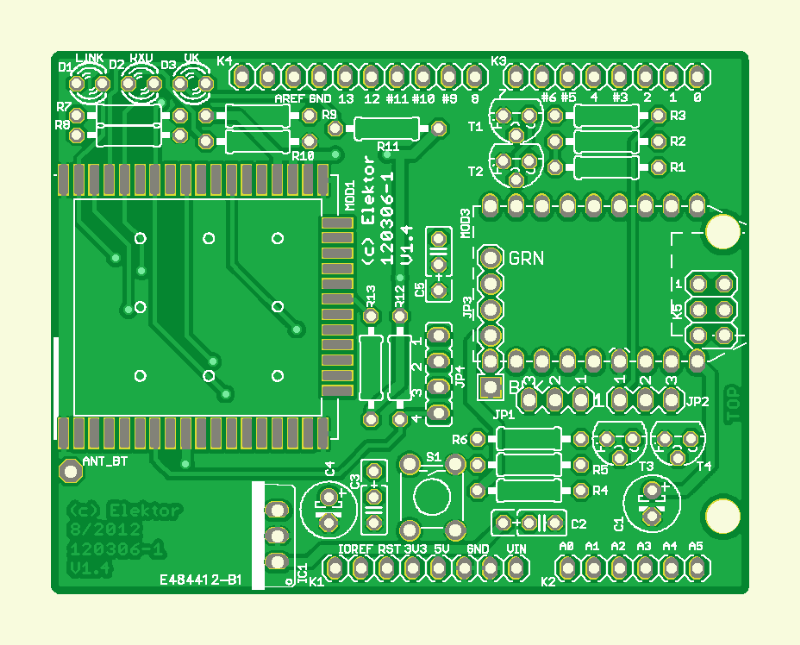 Wi-Fi/Bluetooth/USB shield for Platino and Arduino (120306-1)