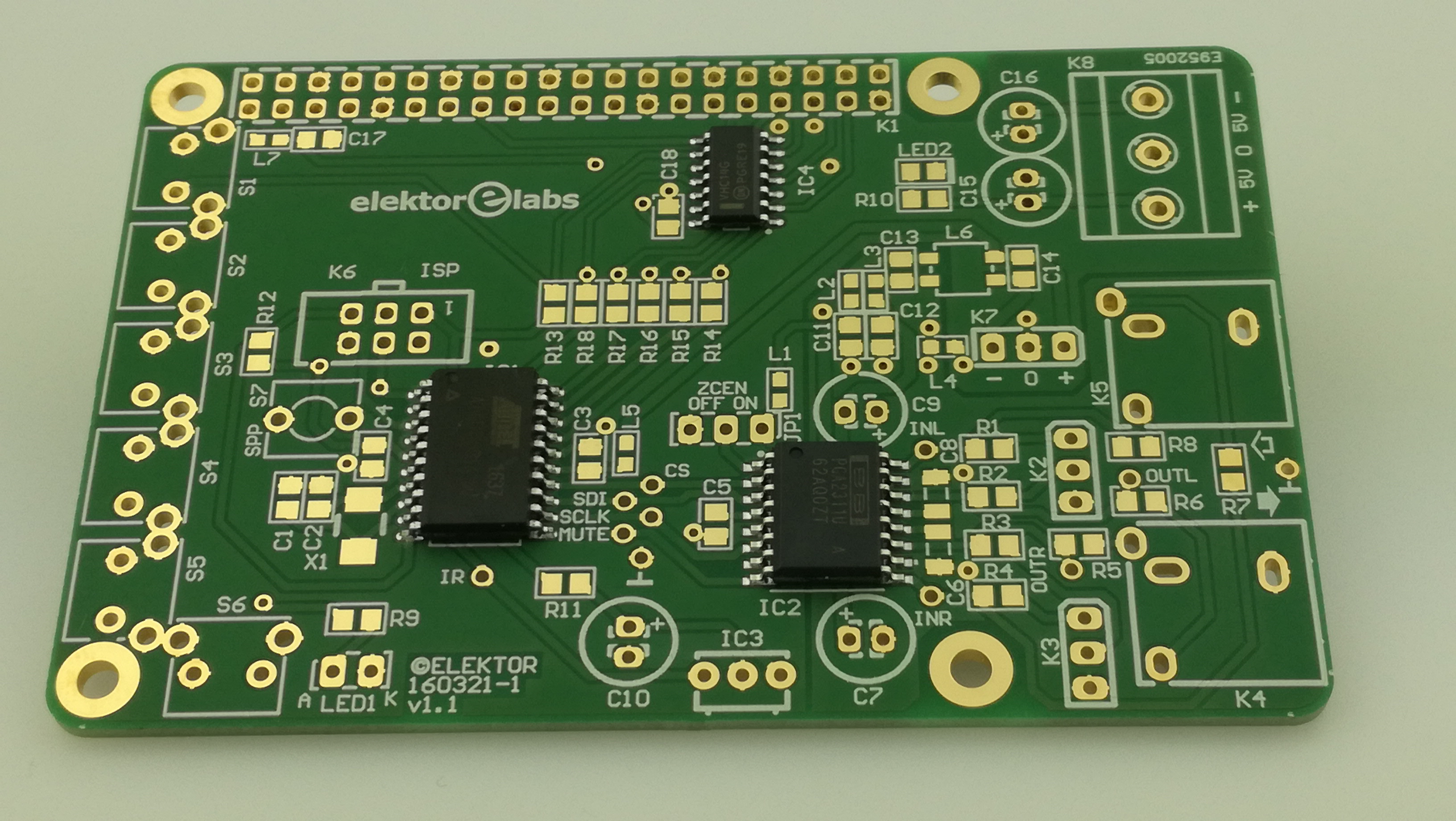 Volume Control for RPi Audio DAC - PCB with IC1,2,4 mounted (160321-71)